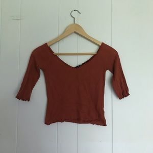 Urban Outfitters Rust Orange Lettuce Trim Crop Top